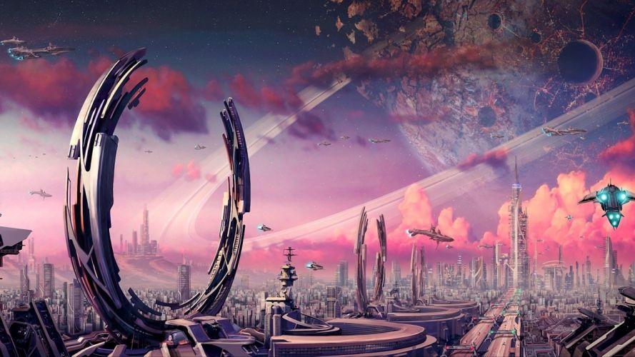 Futuristic planets fantasy art spaceships science fiction artwork airship cities wallpaper