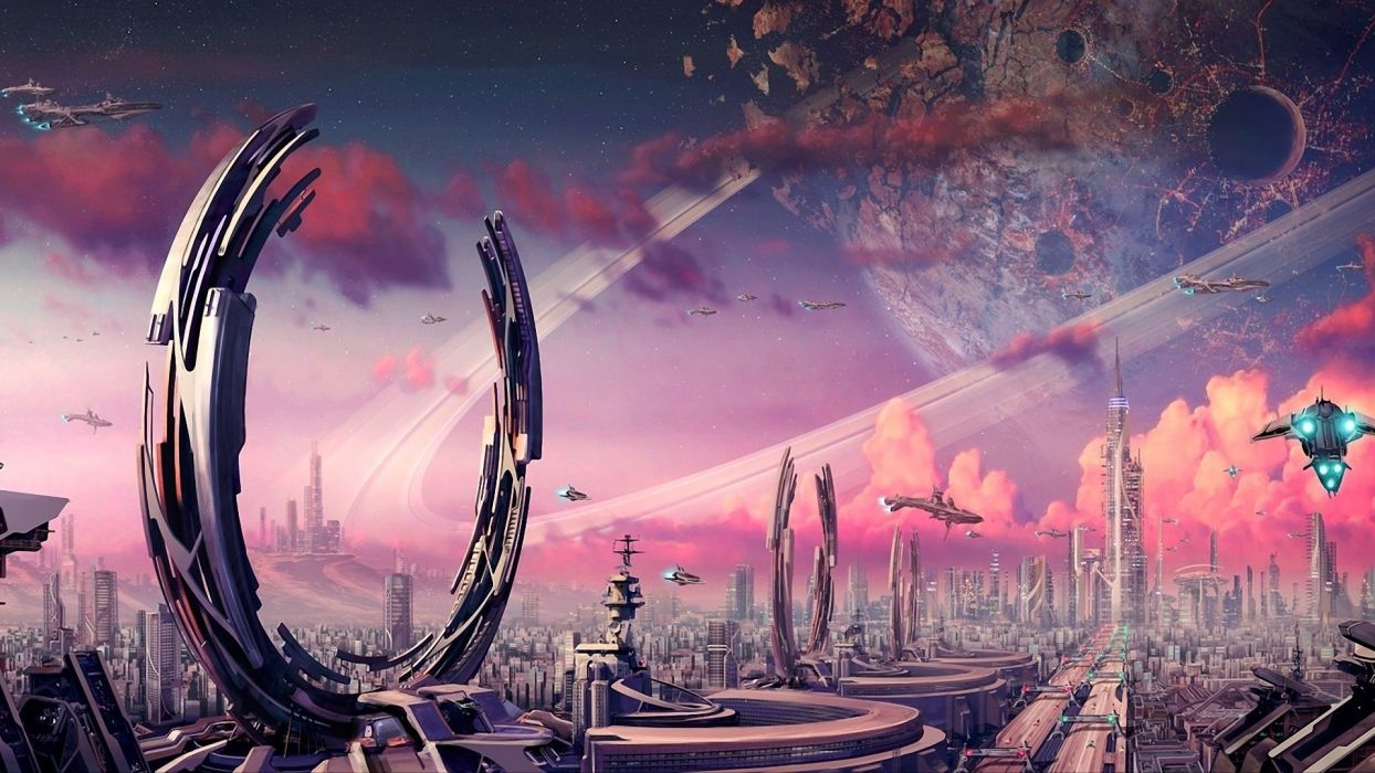 Futuristic planets fantasy art spaceships science fiction artwork airship cities wallpaper