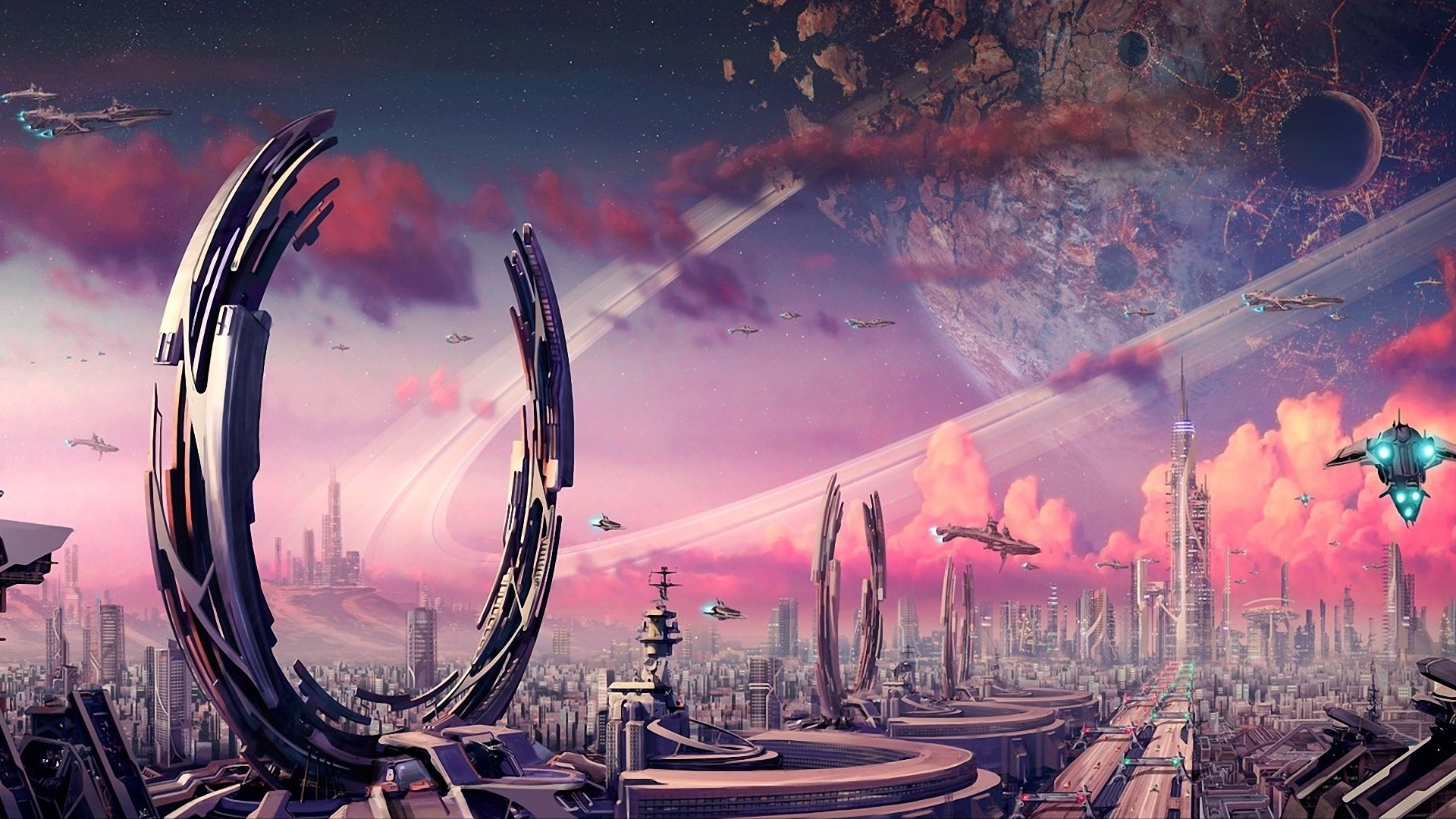 Futuristic planets fantasy art spaceships science fiction ...