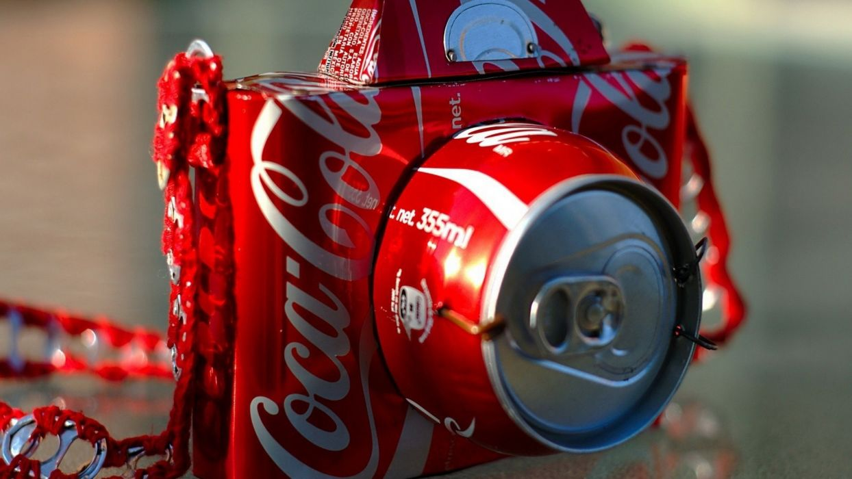 Coca cola artwork photo camera soda cans can wallpaper