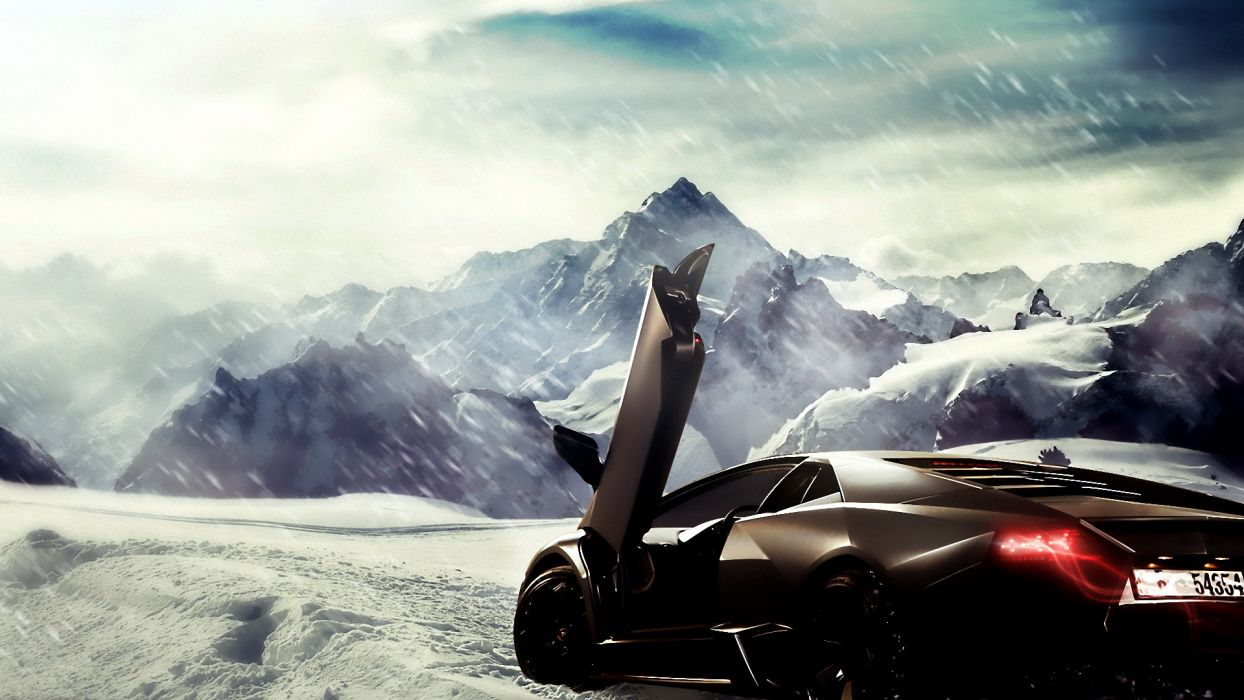 Mountains Winter Snow Artwork Supercars Lamborghini Reventon Black