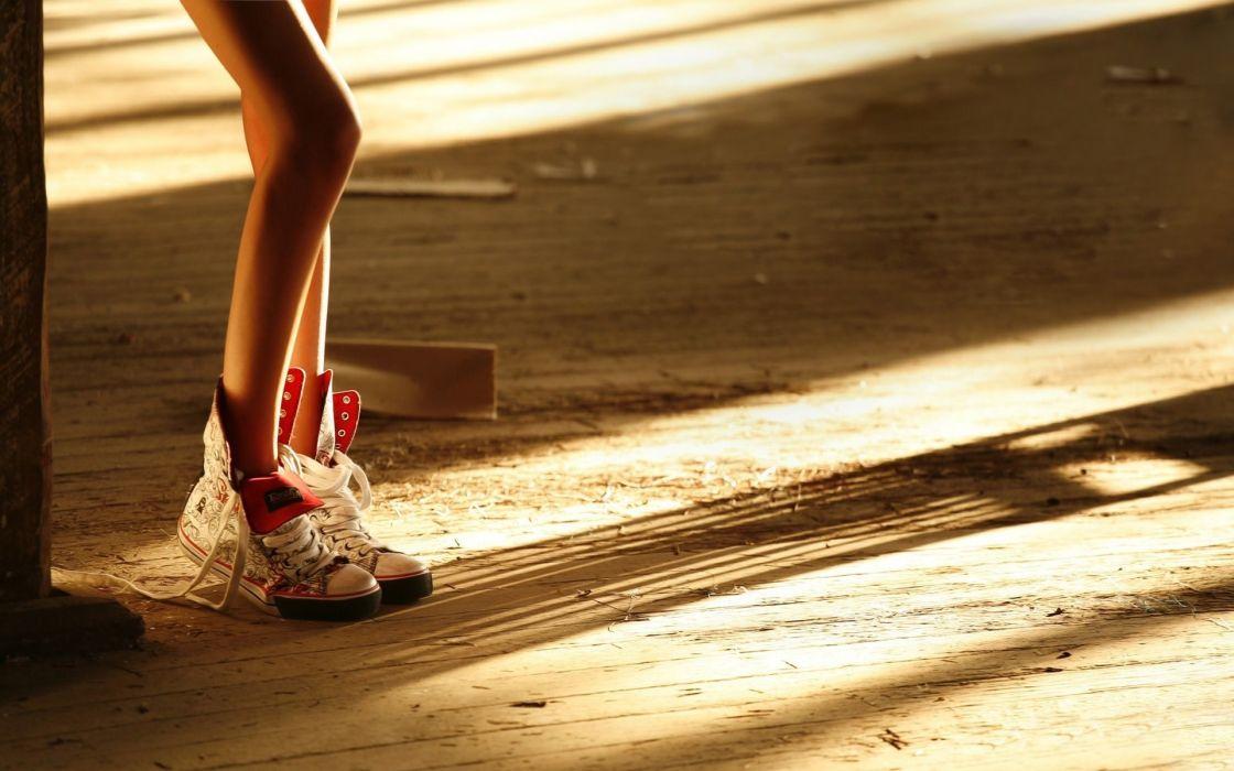 Girl legs women sneakers wallpaper