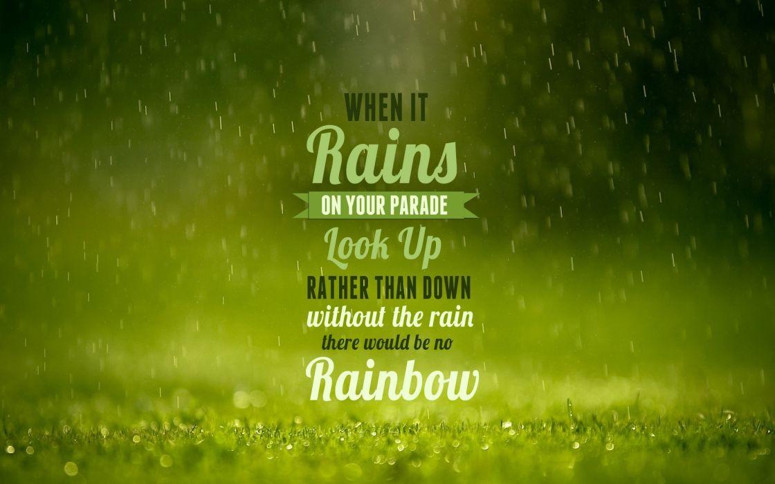 Green typography raindrops wallpaper