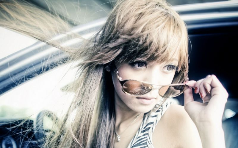 Blondes women sunglasses asians necklaces faces wallpaper