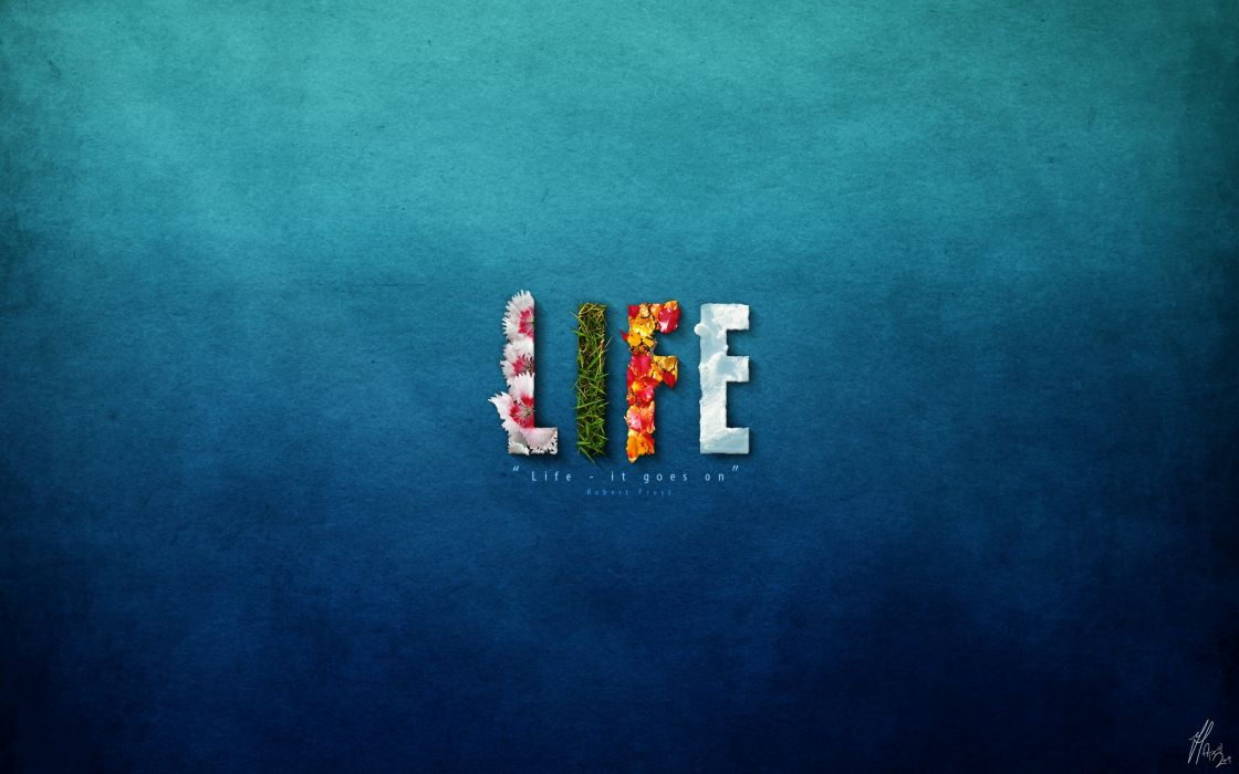Blue minimalistic flowers text quotes grass typography life wallpaper