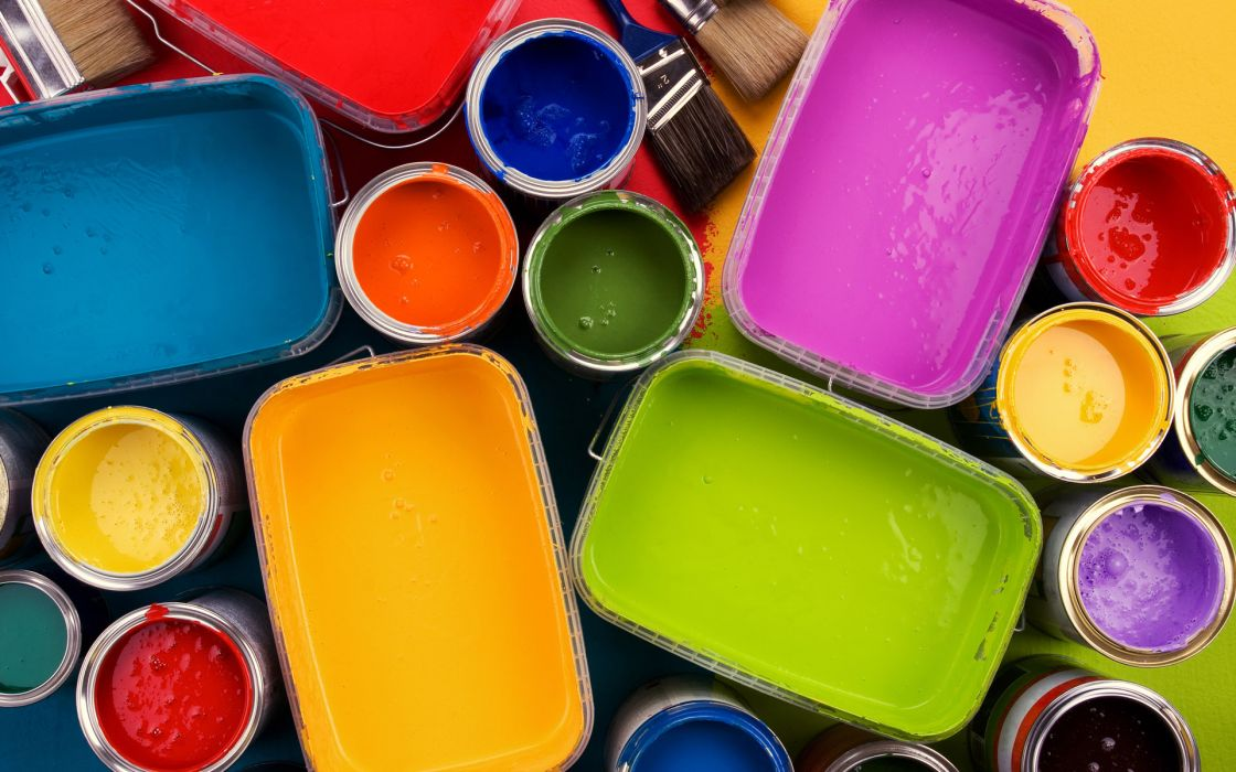 Colorful oil paints Opened paint bucket wallpaper