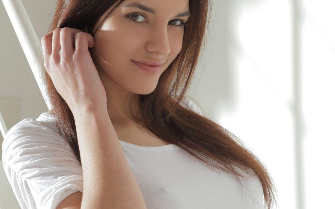 Brunettes women models smiling t-shirts x-art magazine kaylee wallpaper