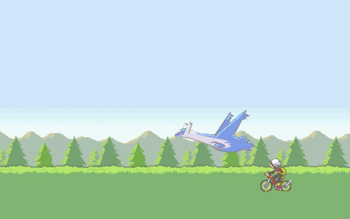 Pokemon video games ruby vehicles motorbikes latios brendan wallpaper