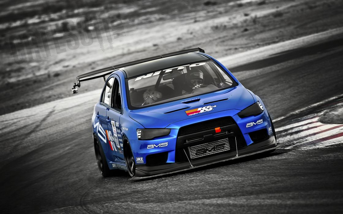 Cars mitsubishi lancer project evo vehicles selective coloring wallpaper