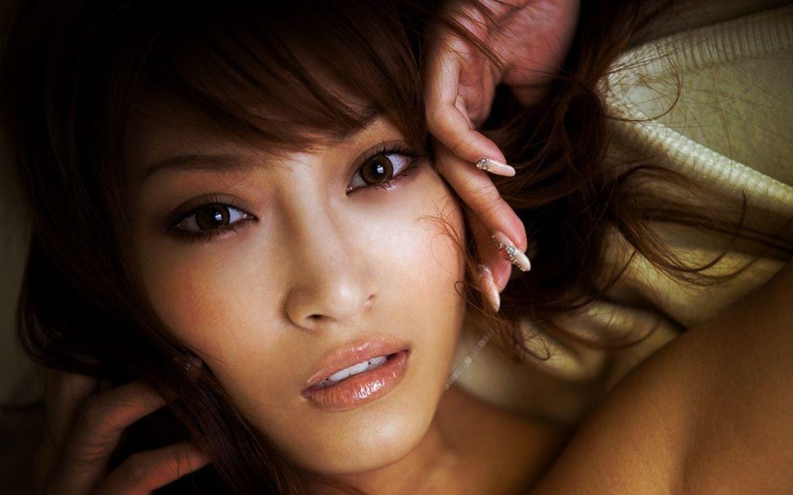 Brunettes women eyes japanese asians faces wallpaper