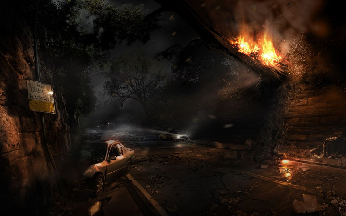 Video games ruins night fire alone in the dark artwork apocalyptic wallpaper