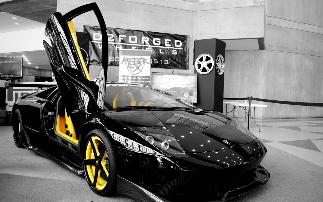 Cars lamborghini selective coloring wallpaper