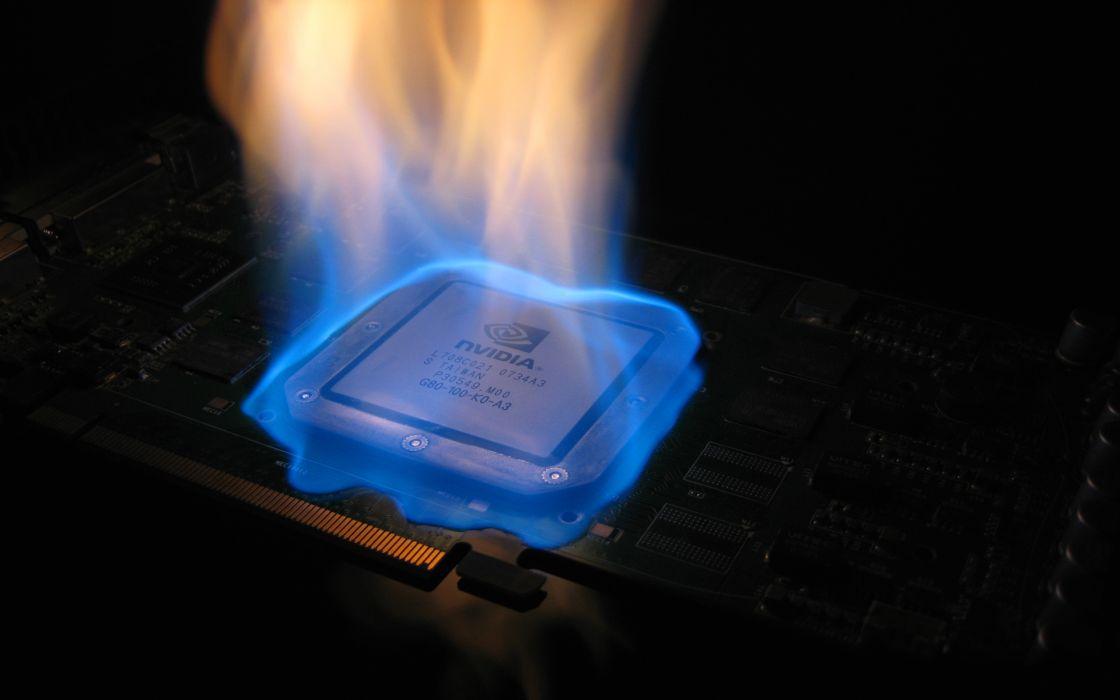 Flames nvidia computers components wallpaper