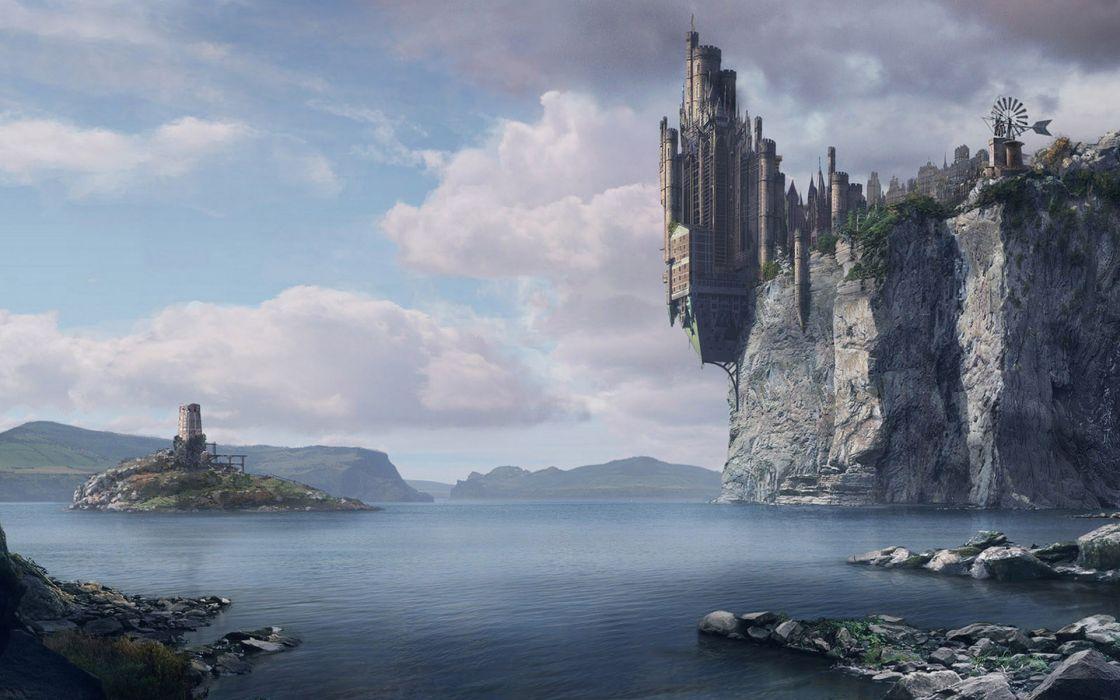 Ocean castles cliffs fantasy art town artwork wallpaper