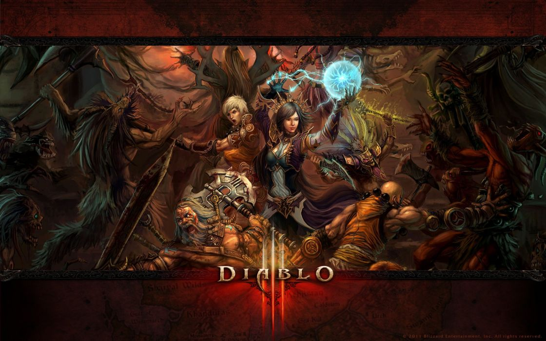 Mage video games undead fight barbarian blizzard entertainment artwork diablo iii monk logos witch doctor wallpaper