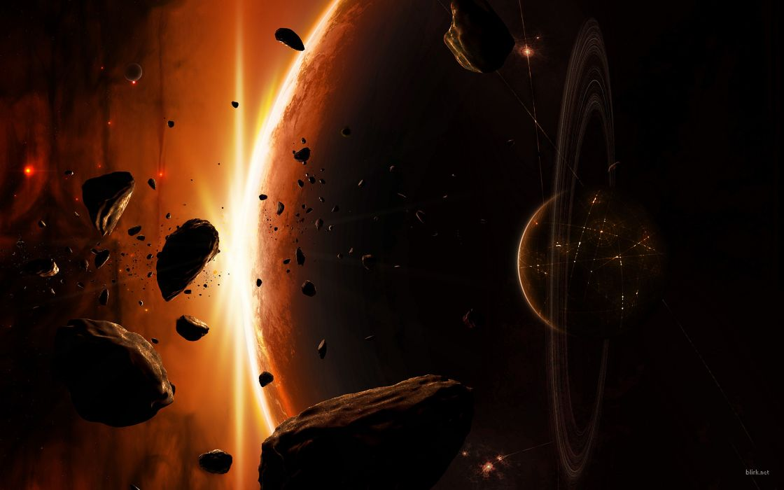 Outer space planets fantasy art digital art asteroids wallpaper
