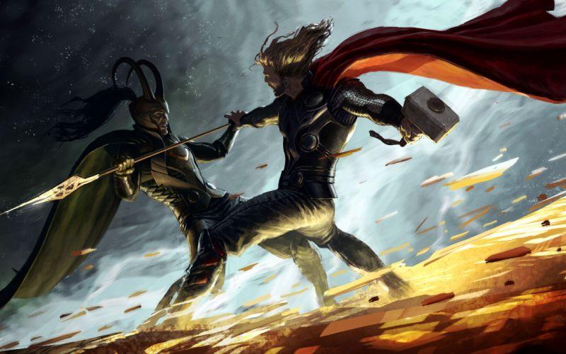 Thor fight hammer artwork marvel comics spears loki mjolnir wallpaper