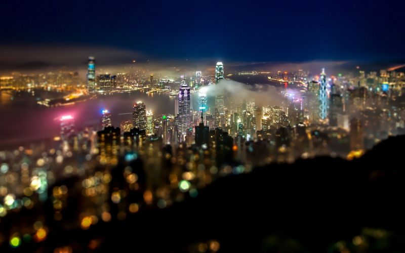 Cityscapes night lights miniature colors wallpaper