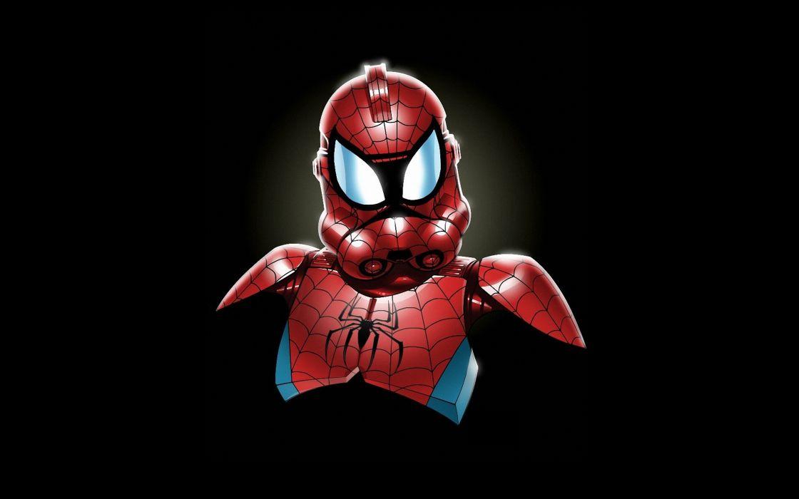 Star wars minimalistic stormtroopers spider-man marvel comics wallpaper