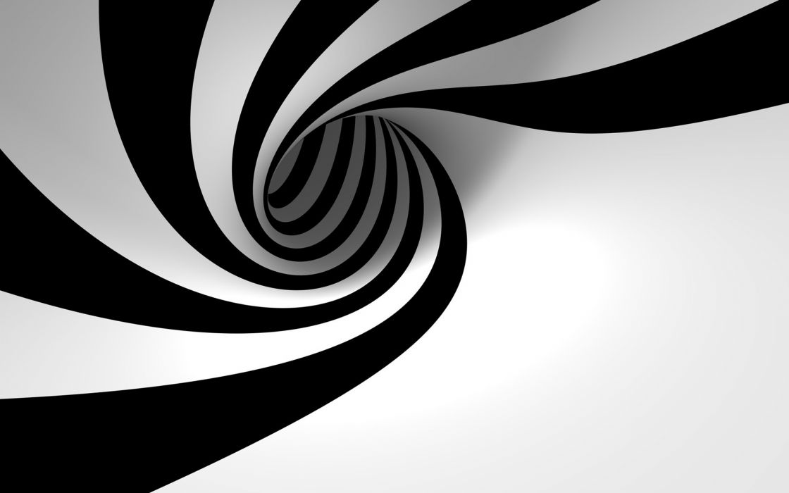 3D view abstract black and white minimalistic hole spiral zebra stripes wallpaper
