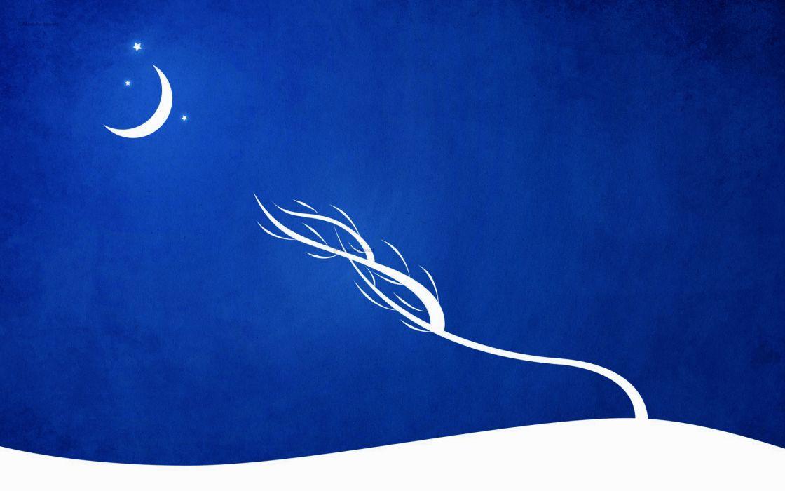 Blue trees white stars moon silhouette vector wind s_t_a_l_k_e_r wallpaper