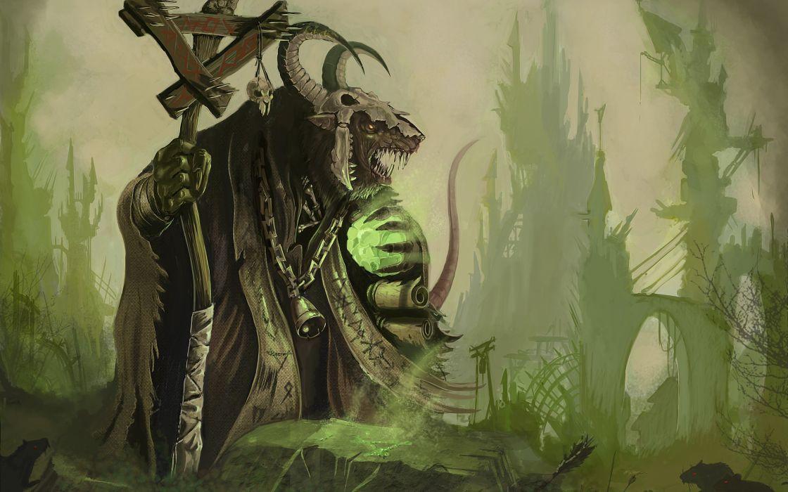 Skulls warhammer horns fantasy art artwork skaven staff rat seer wallpaper