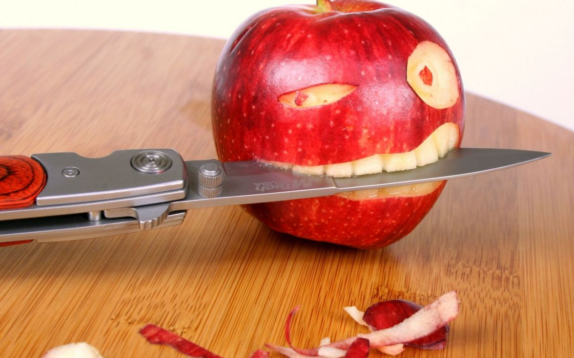 Wood fruits humor tables knives apples dagger food art wallpaper