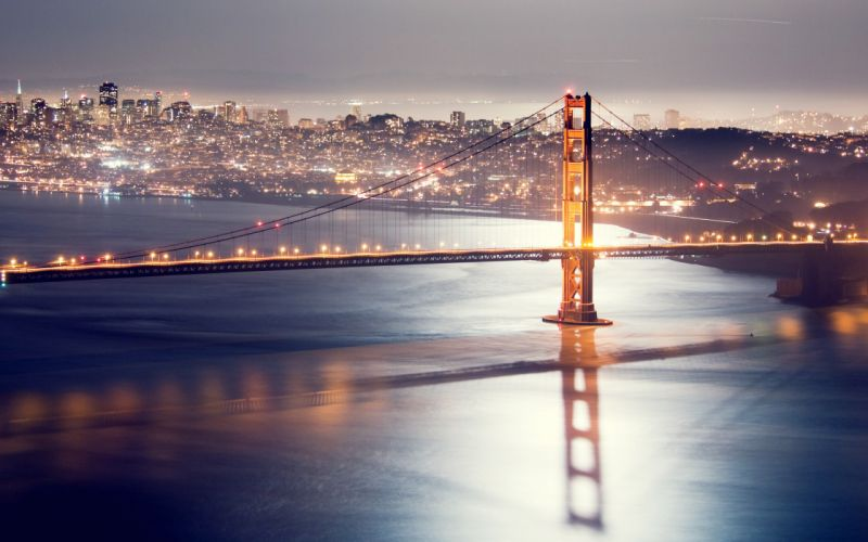 Cityscapes lights bridges golden gate bridge san francisco cities wallpaper