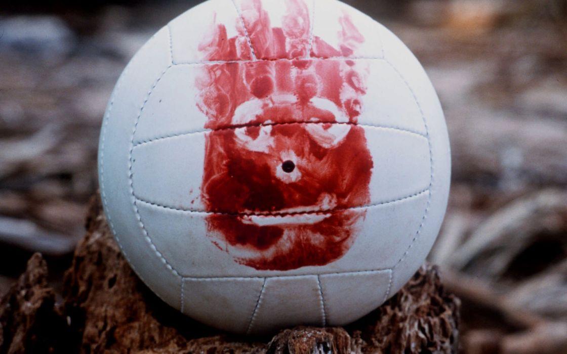 Movies blood volleyball wilson cast away handprint wallpaper