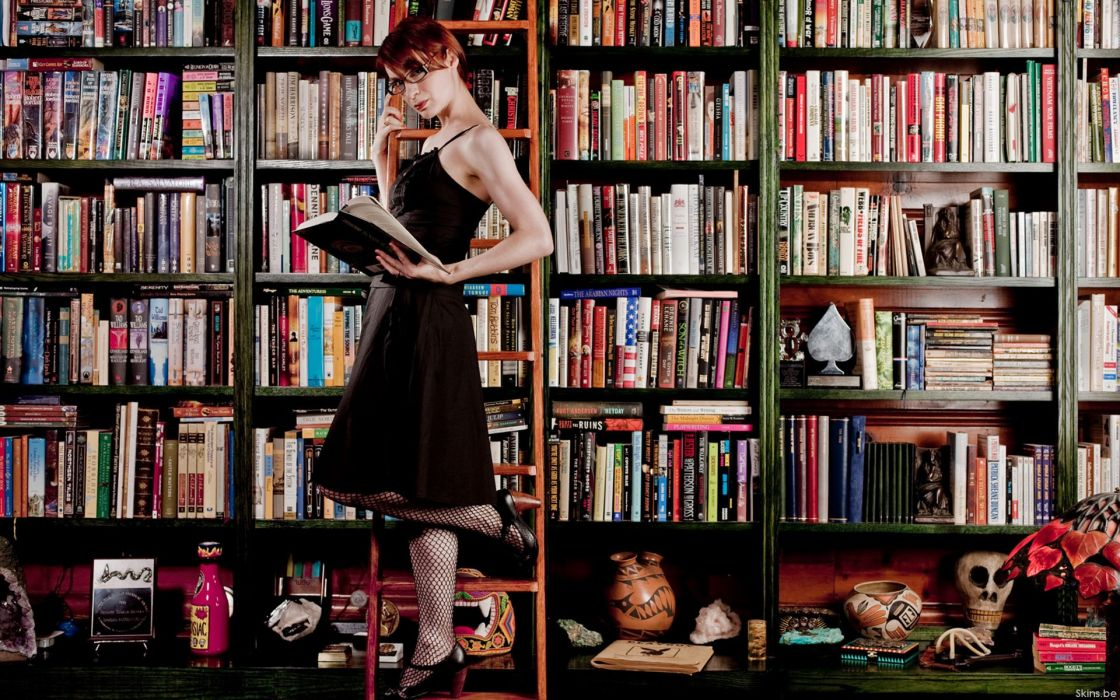 Women redheads glasses library books felicia day bookshelf girls with glasses wallpaper