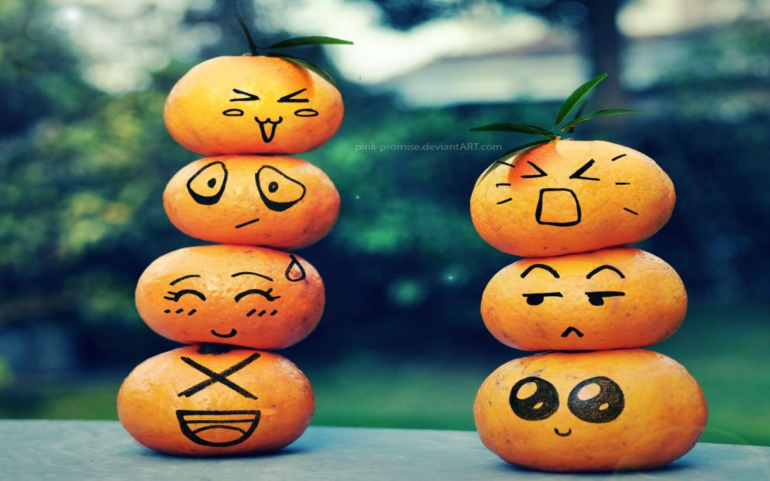 Fruits funny tangerines wallpaper