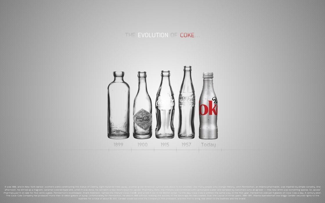 Minimalistic text bottles coca-cola evolution wallpaper