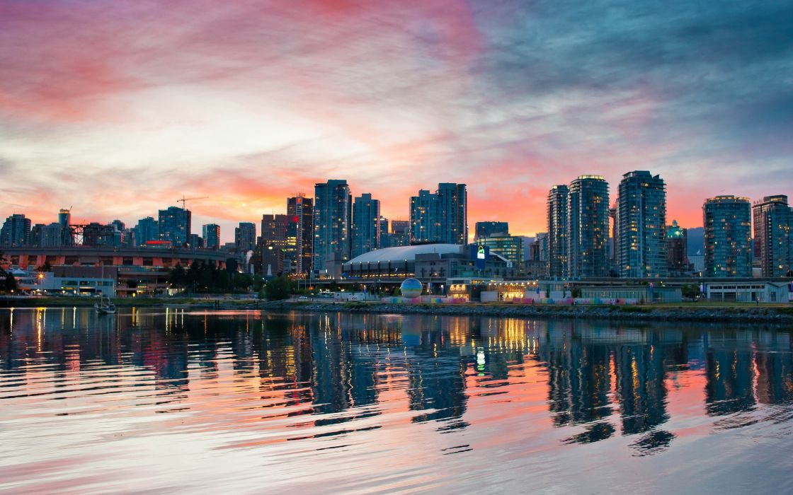 Sunset cityscapes vancouver skyscapes wallpaper