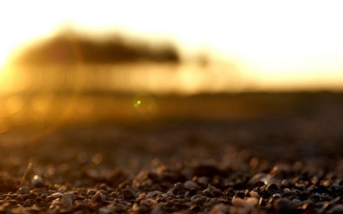 Beach rocks sunlight macro wallpaper