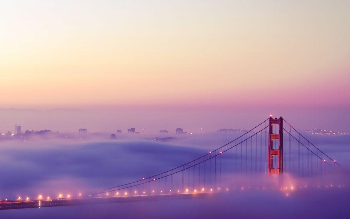 Lights fog bridges golden gate bridge san francisco cities wallpaper