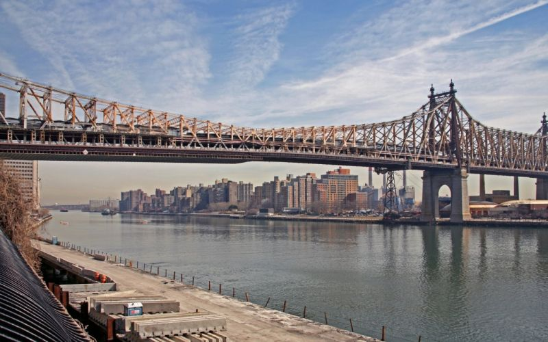 Clouds cityscapes bridges new york city industrial manhattan rivers east river wallpaper