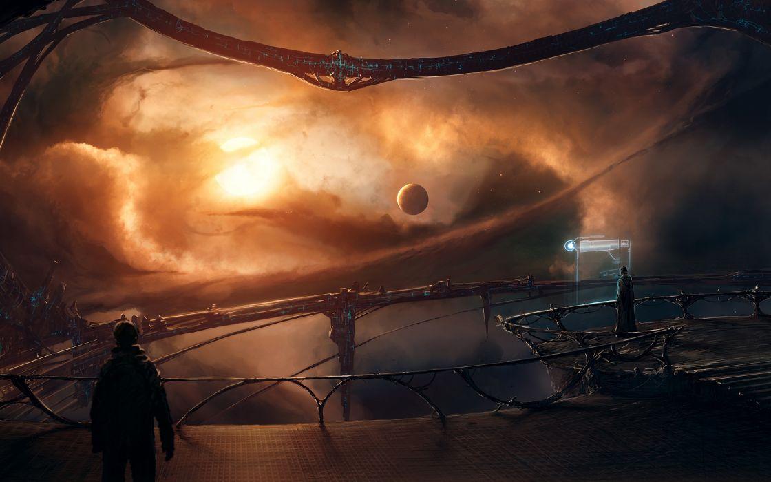 Fantasy outer space futuristic planets fantasy art artwork wallpaper