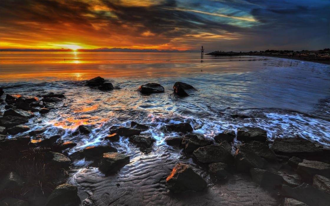 Sunset ocean landscapes nature coast beach rocks deviantart wallpaper