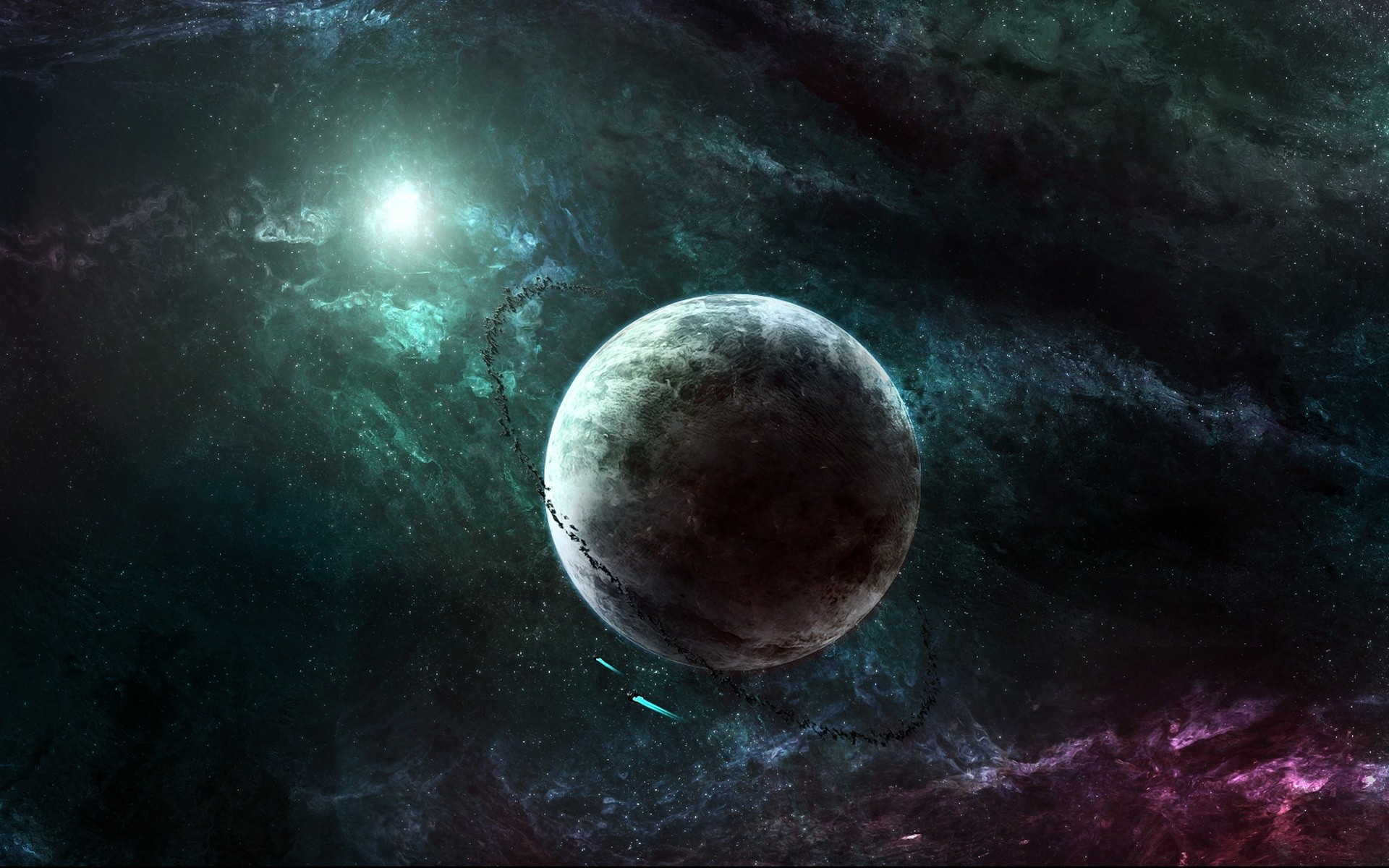 Outer space stars planets rings spaceships asteroids ...