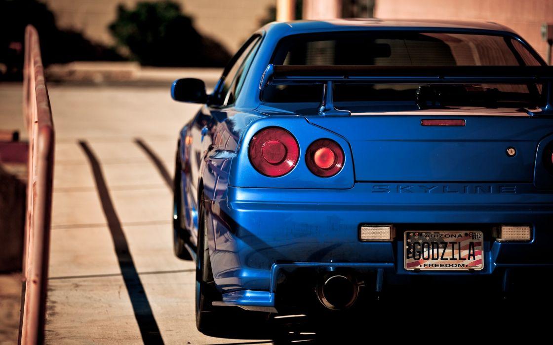 Blue nissan vehicles sport cars blue cars racing club skyline r34 wallpaper