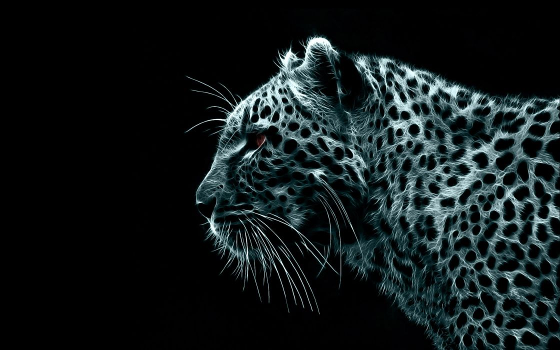 Digital fractalius leopards black background wallpaper