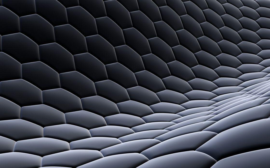 3D view abstract dark design hexagons digital art honeycomb wallpaper