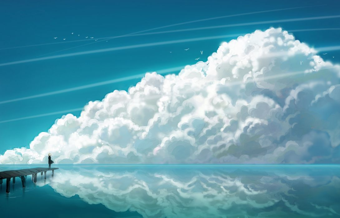 Water blue clouds nature anime multiscreen skyscapes wallpaper