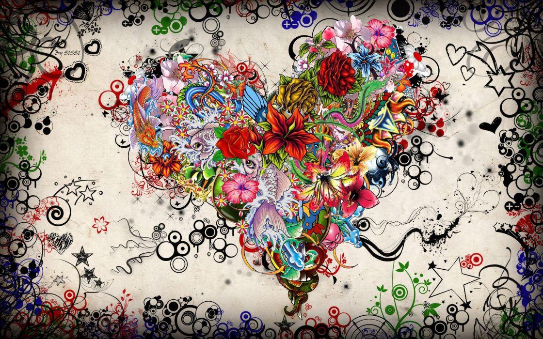 Multicolor artwork hearts wallpaper