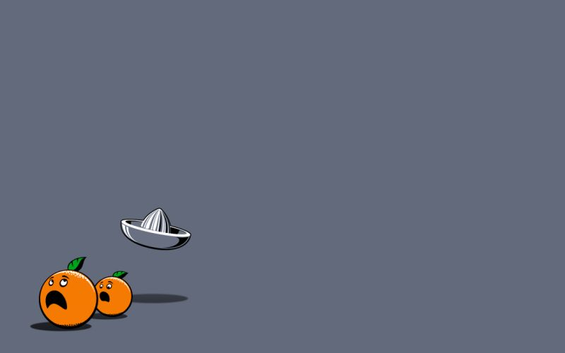 Minimalistic orange oranges fun art grey background wallpaper