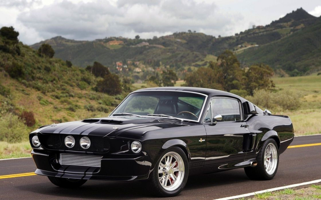 Landscapes black cars scenic vehicles ford mustang shelby gt500 wallpaper