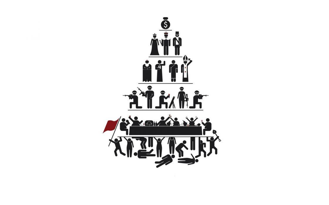 Minimalistic white capitalism pyramids wallpaper