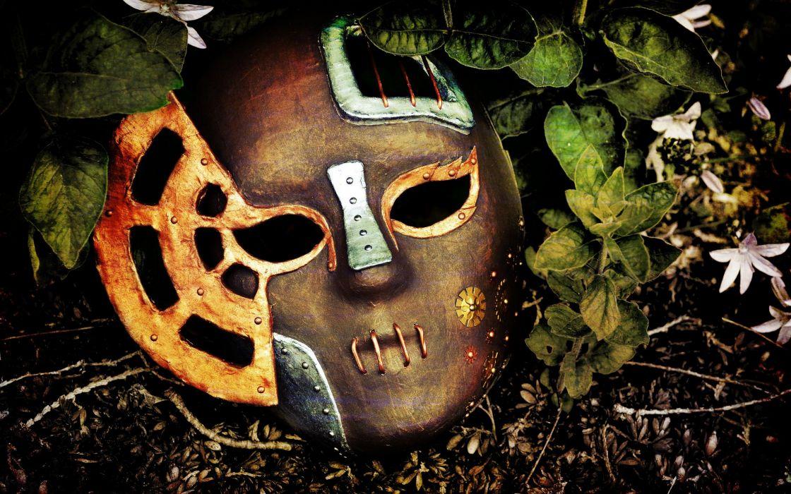 Flowers leaves steampunk masks wallpaper