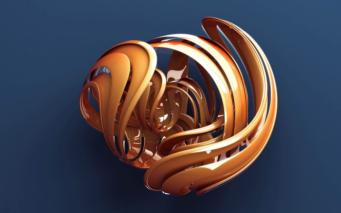 3D view abstract orange wallpaper