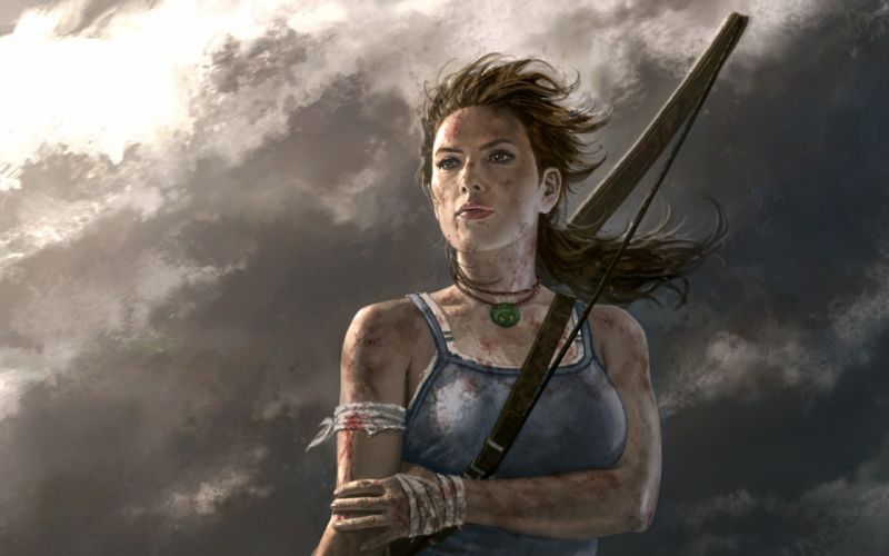 Brunettes women video games tomb raider pc lara croft artwork skyscapes games tomb raider 2012 pc games wallpaper